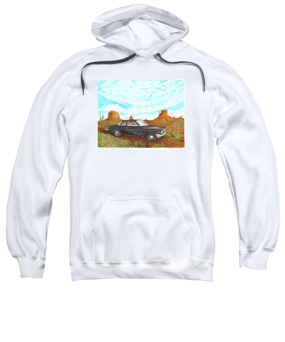 Watercolor Art Of 1961 Chevrolet Biscayne 409 In Monument Valley Sweatshirt featuring the painting 1961 Chevrolet Biscayne 409 In Monument Valley by Jack Pumphrey