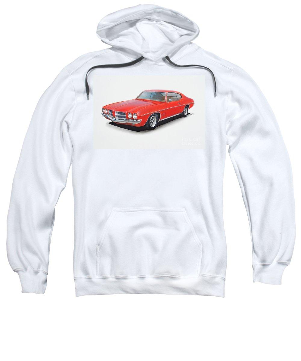 1972 Sweatshirt featuring the drawing 1972 Pontiac Lemans by Paul Kuras