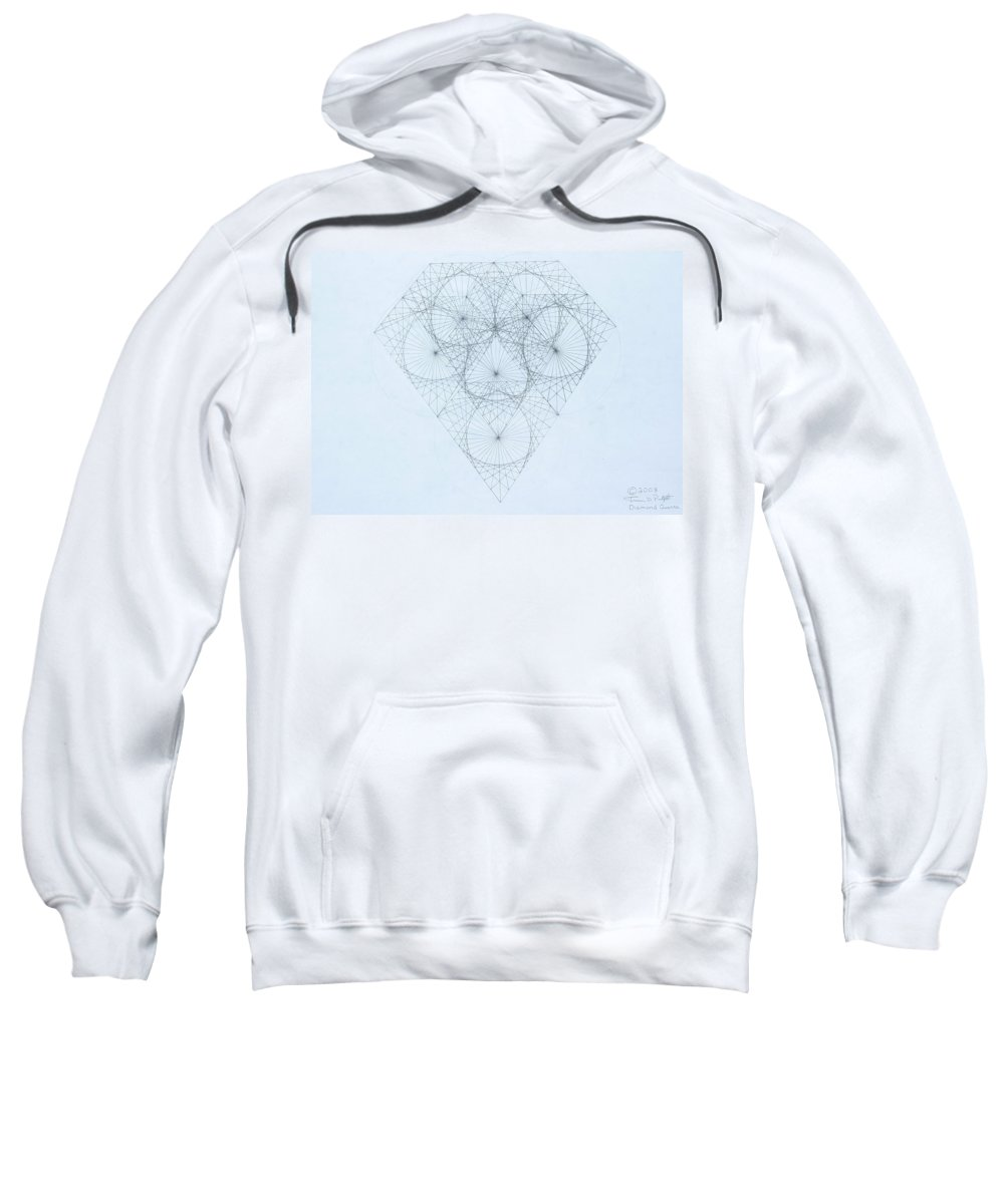 Jason Padgett Sweatshirt featuring the drawing Diamond Quanta by Jason Padgett