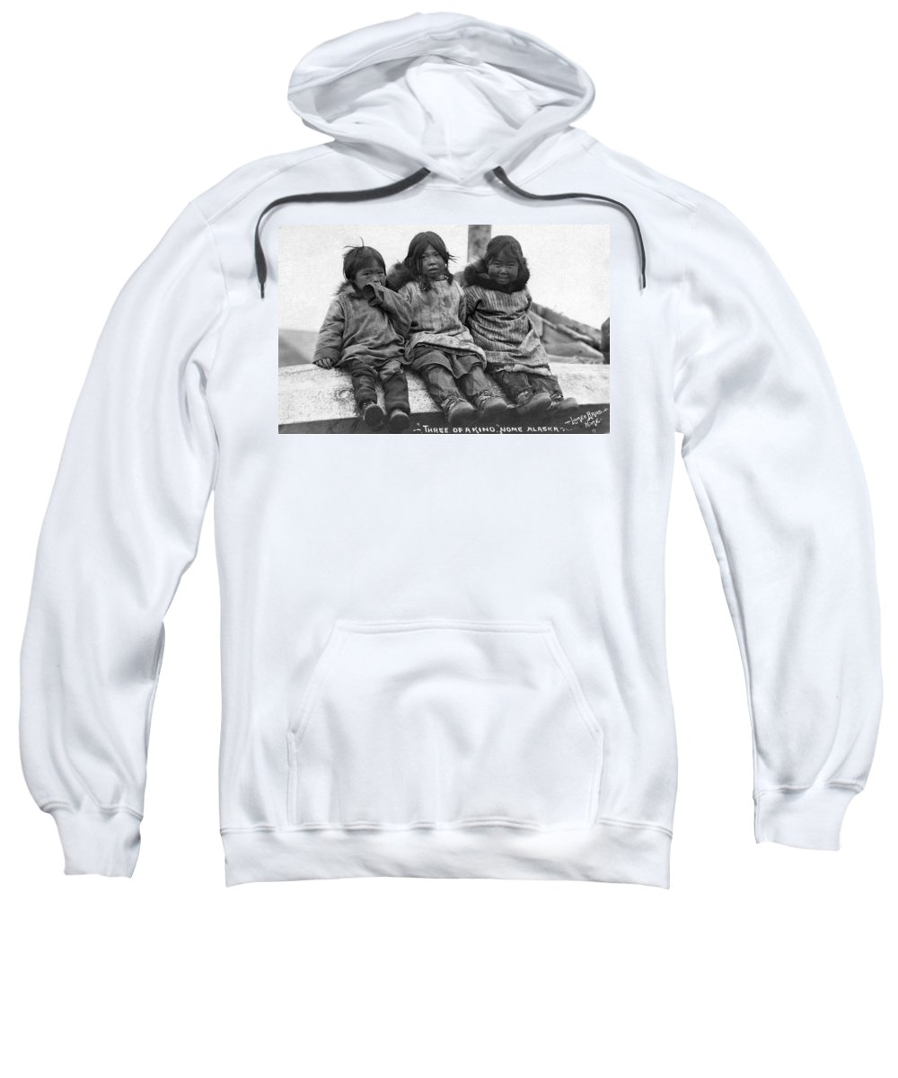 20th Century Sweatshirt featuring the photograph Alaska Eskimo Children by Granger