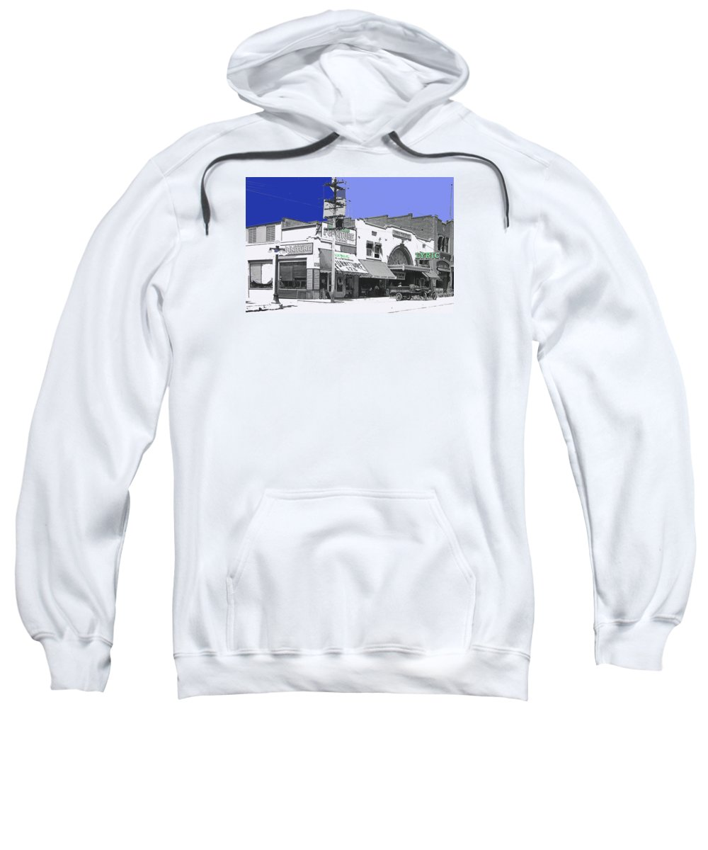 Allan Dwan Soldiers Of Fortune 1919 Lyric Theater Tucson Arizona Wallace Beery Mgm Essanay Fox Tucson Theater Color Added Sweatshirt featuring the photograph Allan Dwan Soldiers Of Fortune 1919 Lyric Theater Tucson Arizona 1919-2008 by David Lee Guss