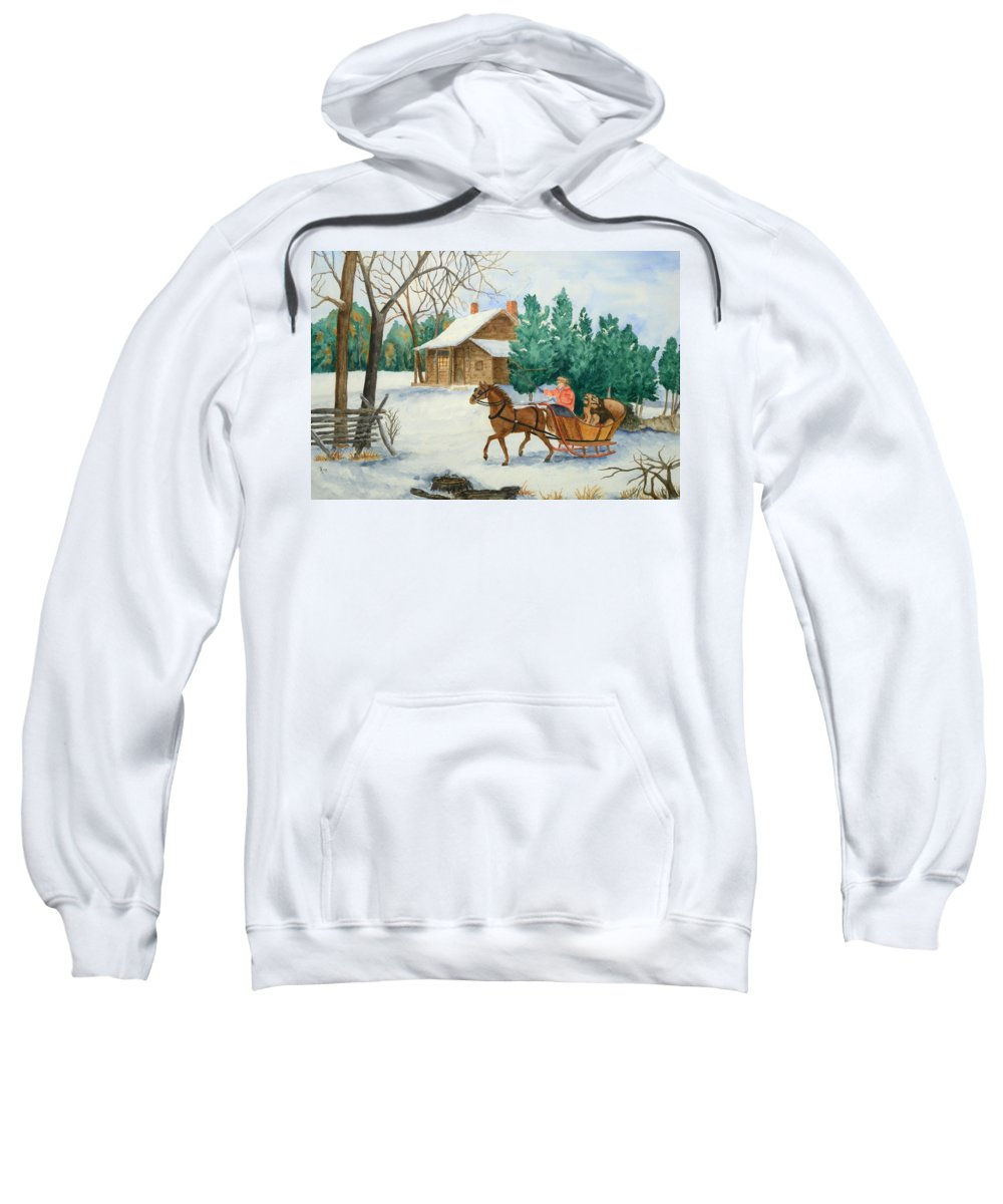 Winter Sweatshirt featuring the painting Bo And Ozark - Dashing The Fab Two by Rhonda Leonard