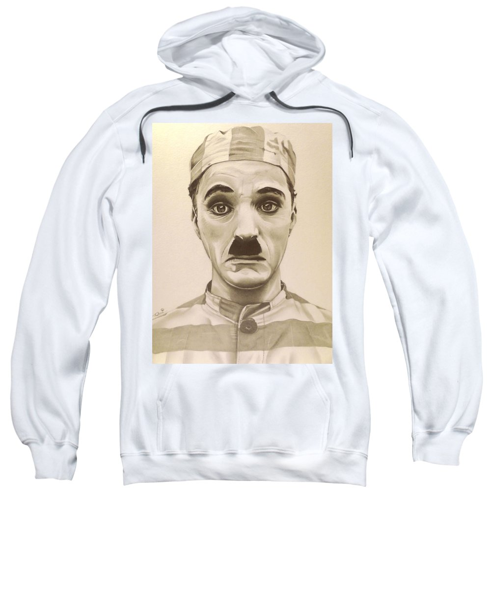 The Adventurer Sweatshirt featuring the drawing Vintage Charlie Chaplin by Fred Larucci