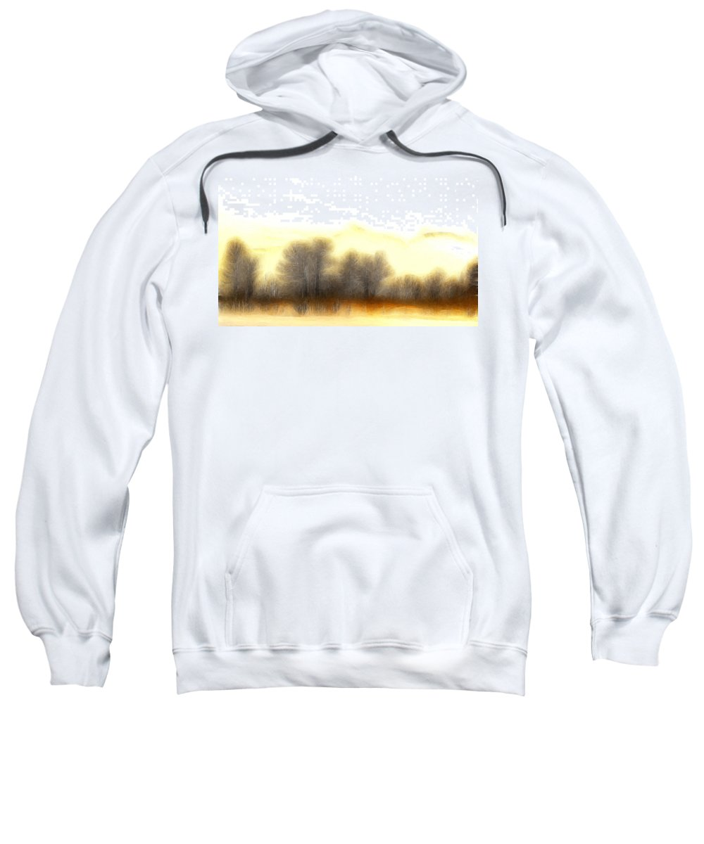 Morning Fog Mist Misty Tree Trees Mountain Nature Abstract Expressionism Landscape Painting Sweatshirt featuring the painting Early In The Morning by Steve K