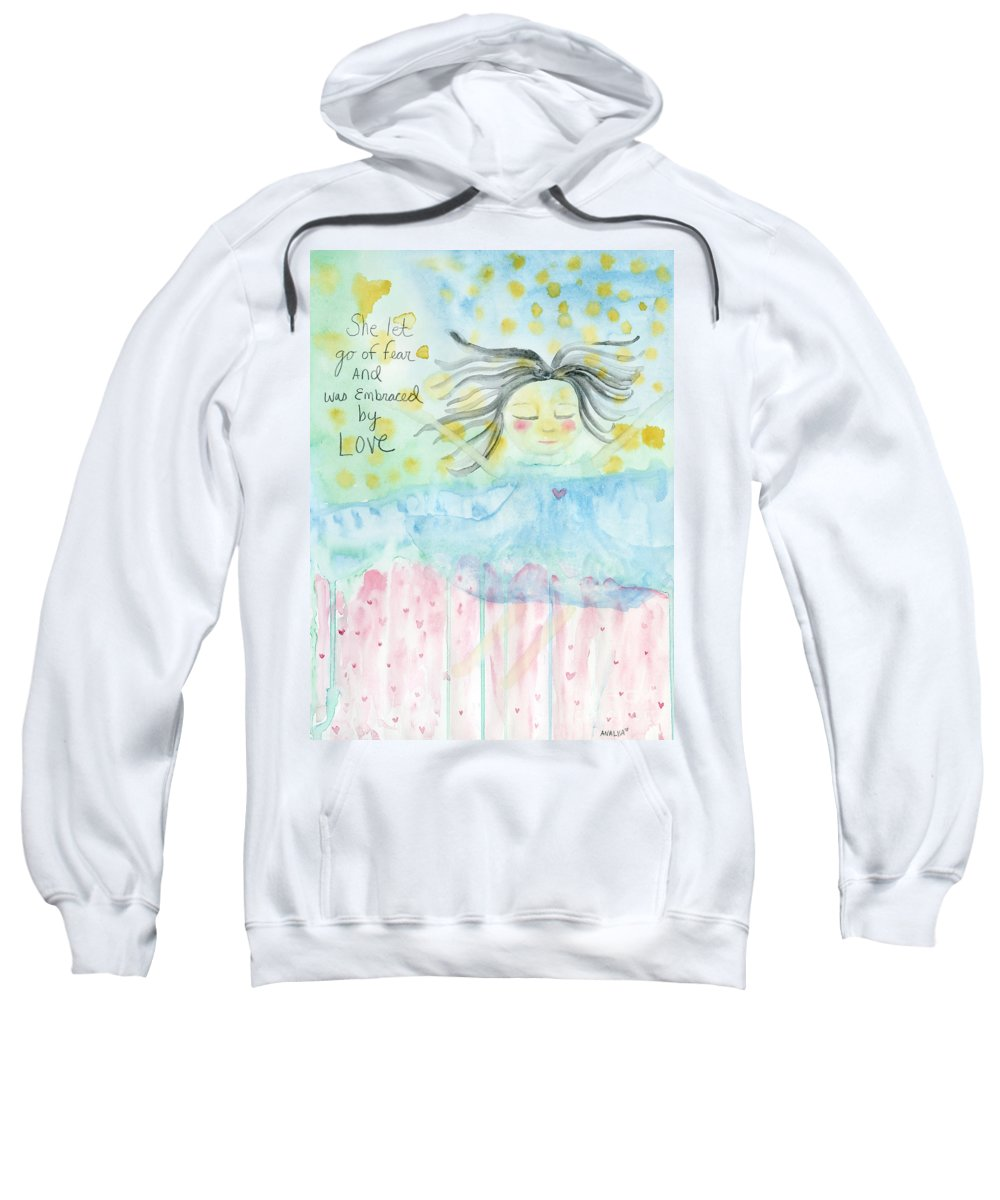 Woman Sweatshirt featuring the painting Embraced By Love by AnaLisa Rutstein