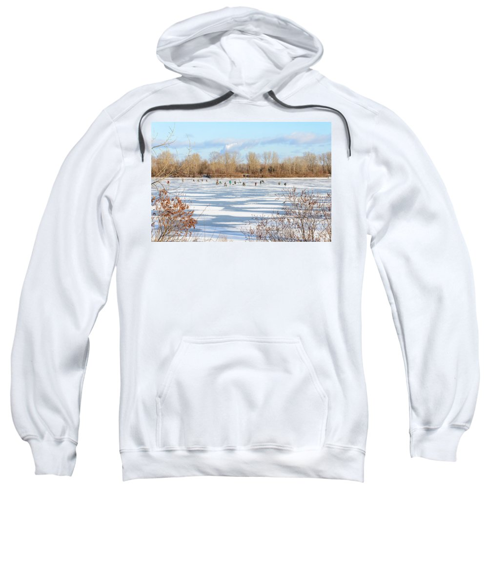 Dnieper Sweatshirt featuring the photograph Fishermen On The Frozen River by Alain De Maximy