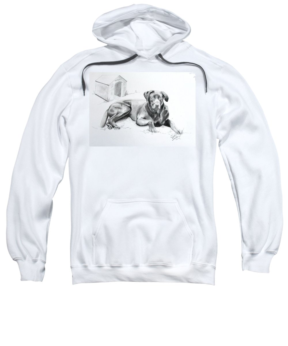 Professional Pet Portrait Artist Sweatshirt featuring the drawing Hershey by Joette Snyder
