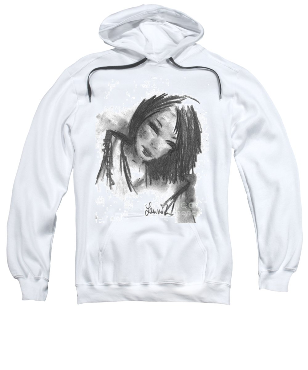 Girl Sweatshirt featuring the drawing Jasper by Laurie Lundquist