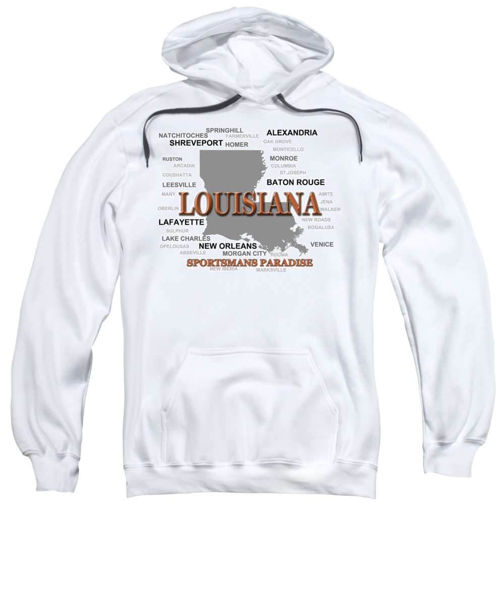 Louisiana Sweatshirt featuring the photograph Louisiana State Pride Map Silhouette by Keith Webber Jr