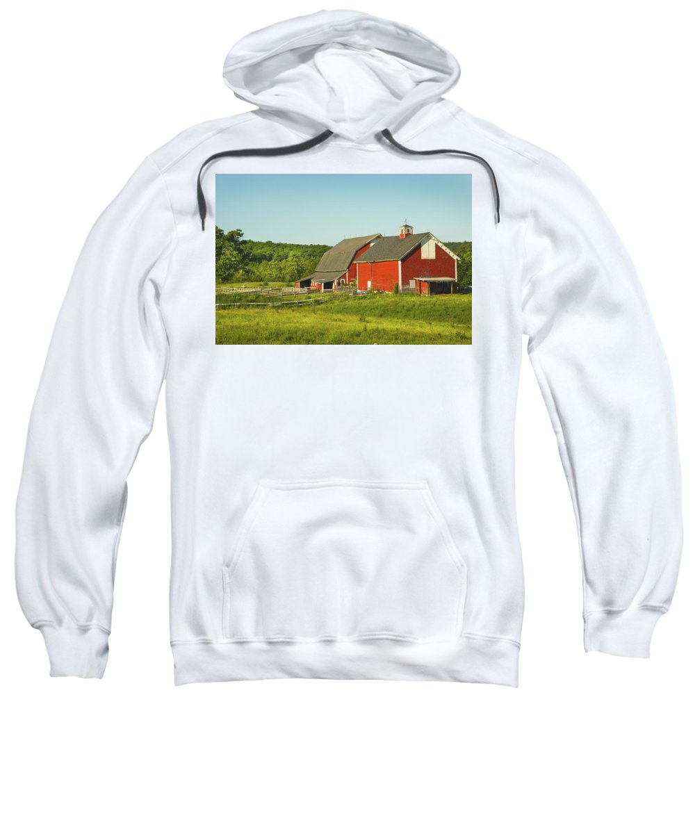 Farm Sweatshirt featuring the photograph Red Barn And Fence On Farm In Maine by Keith Webber Jr