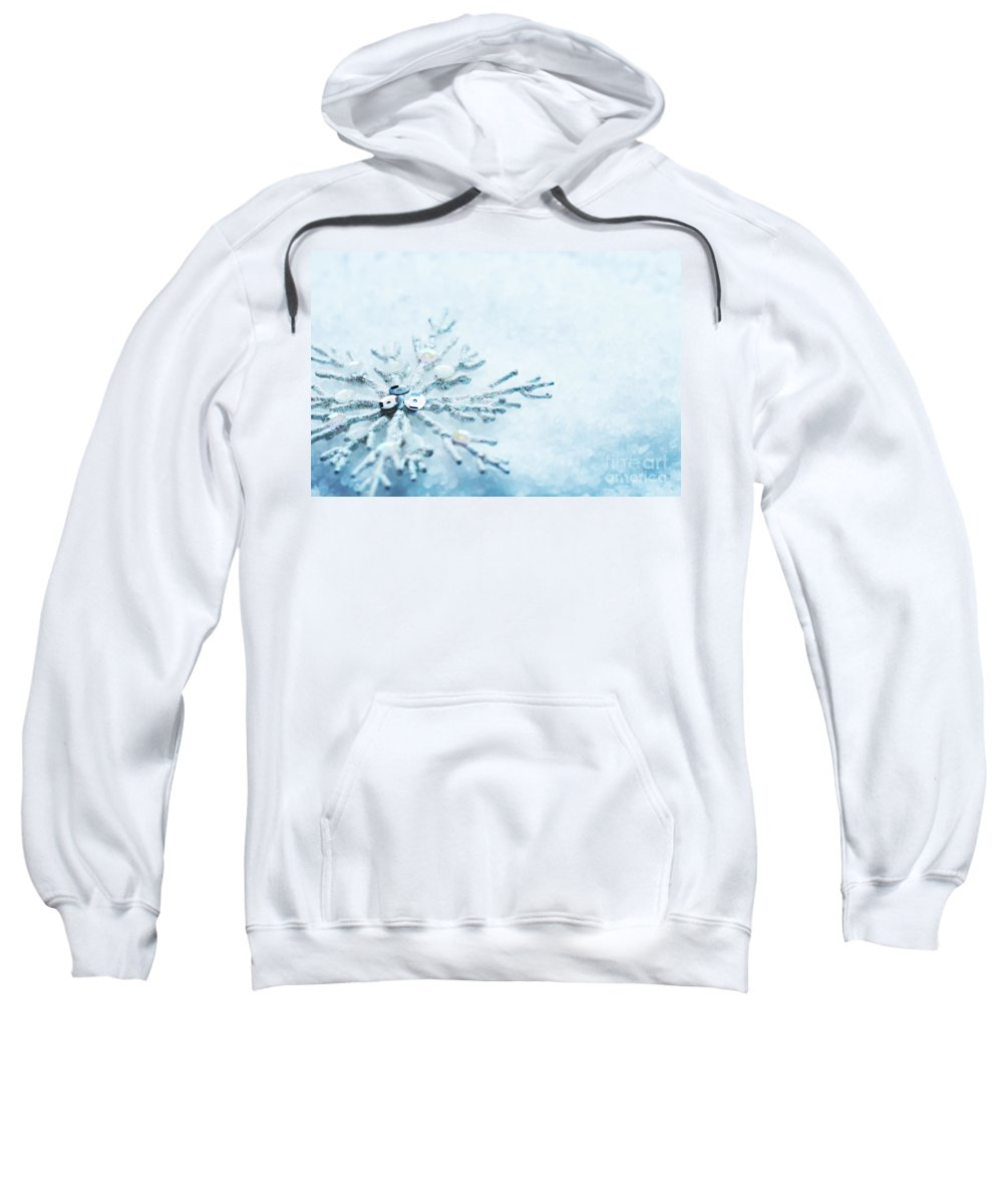 Snow Sweatshirt featuring the photograph Snowflake In Snow by Michal Bednarek