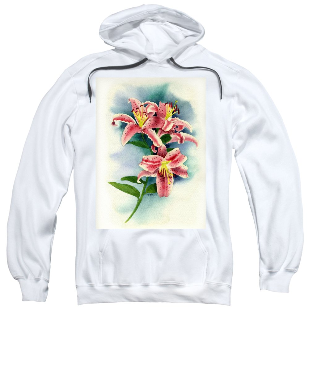 Watercolor Floral Sweatshirt featuring the painting Stargazer Lilies by Brett Winn