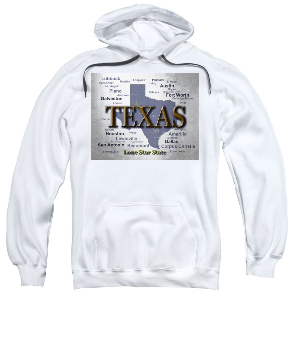 Texas Sweatshirt featuring the photograph Texas State Pride Map Silhouette by Keith Webber Jr