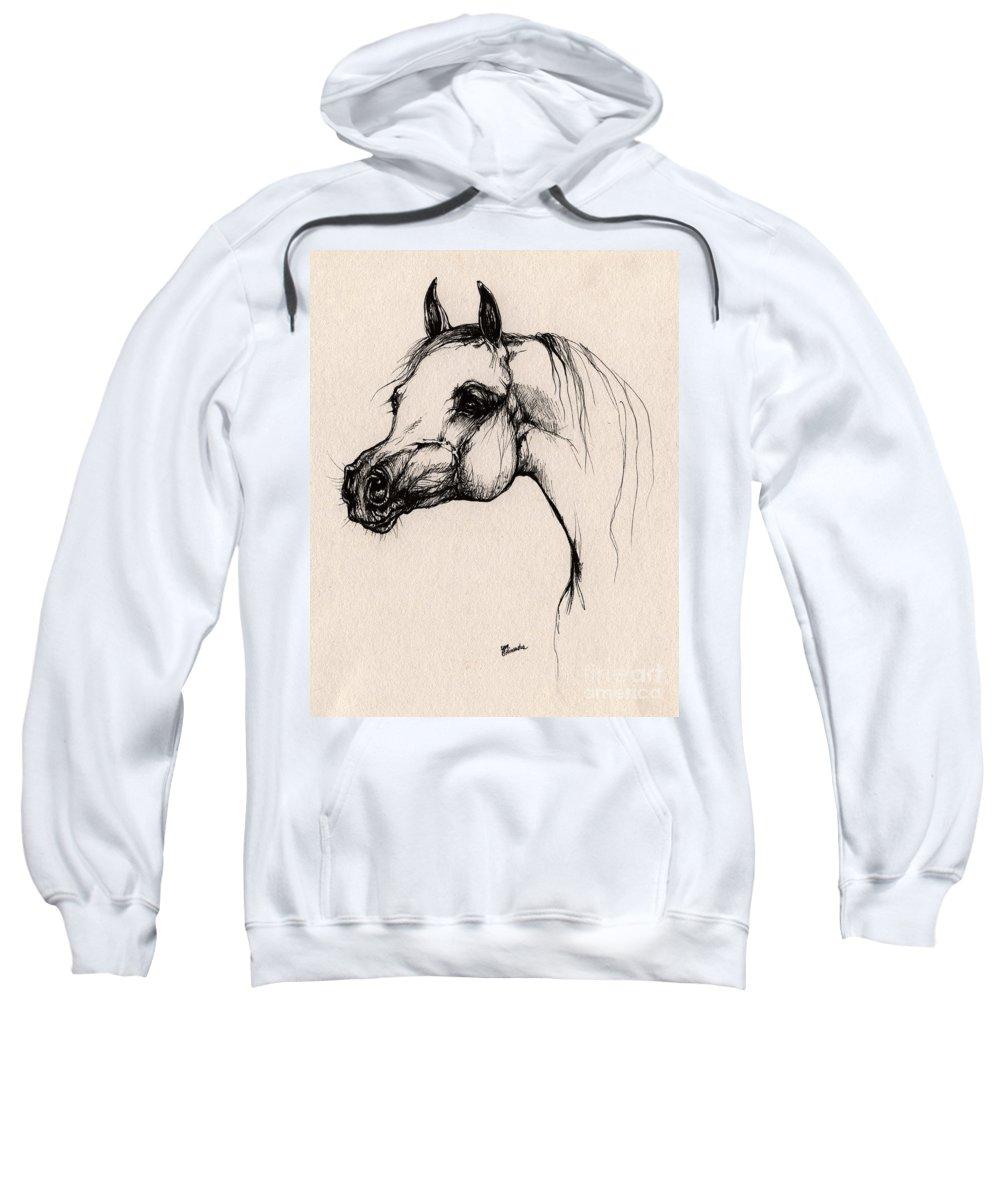 Arabian Horse Sweatshirt featuring the drawing The Arabian Horse by Angel Ciesniarska