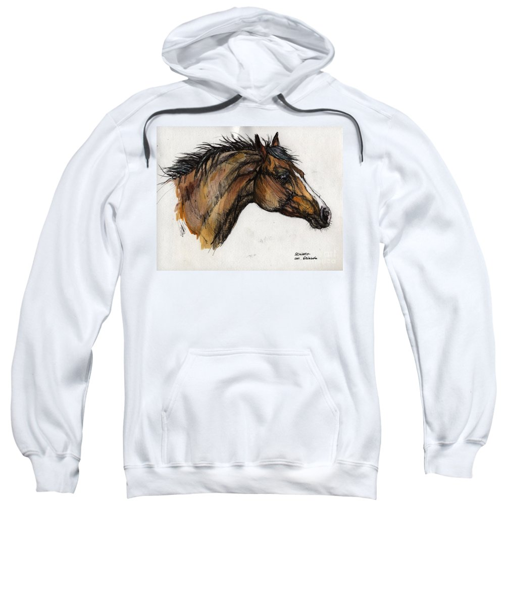 Horse Sweatshirt featuring the painting The Bay Horse by Angel Ciesniarska