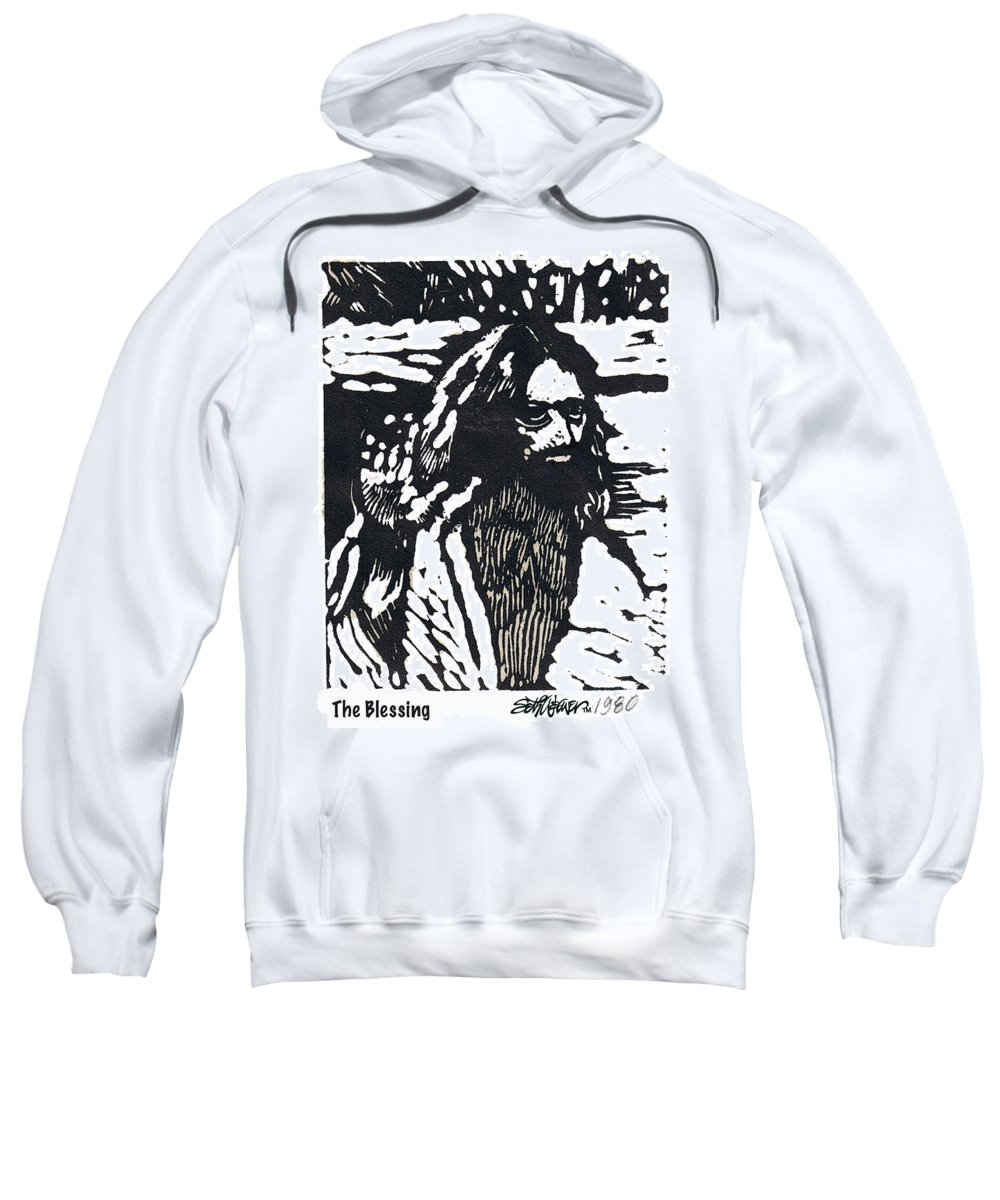 Jesus Christ Sweatshirt featuring the mixed media The Blessing by Seth Weaver