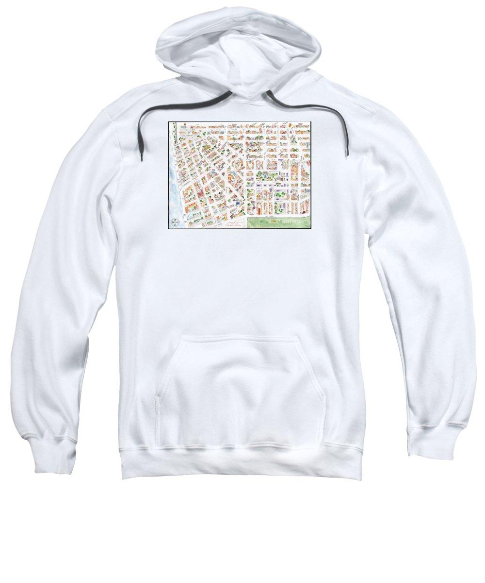 Greenwich Village Sweatshirt featuring the painting The Greenwich Village Map by AFineLyne