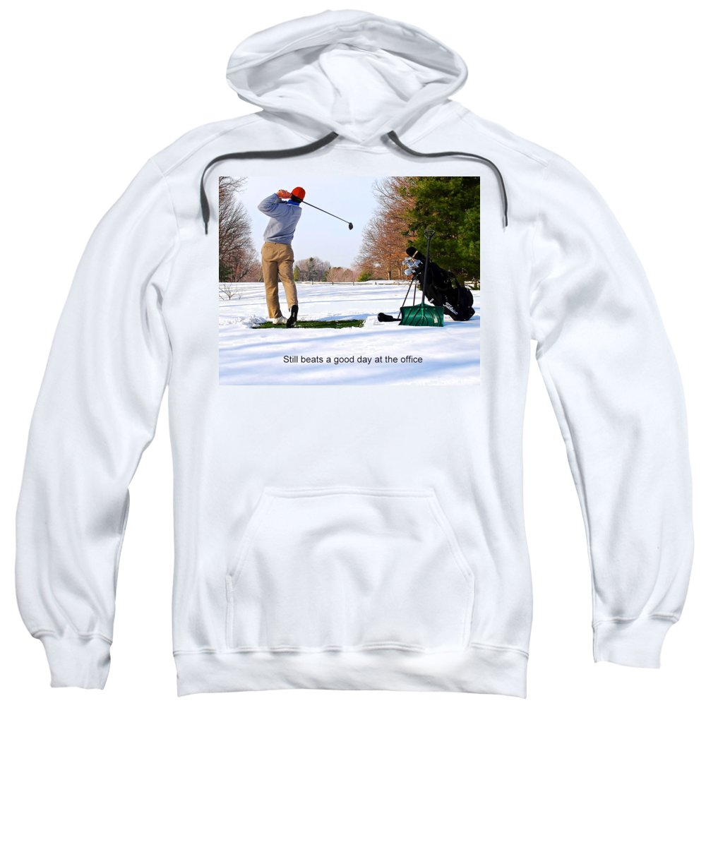Winter Sweatshirt featuring the photograph Winter Golf by Frozen in Time Fine Art Photography