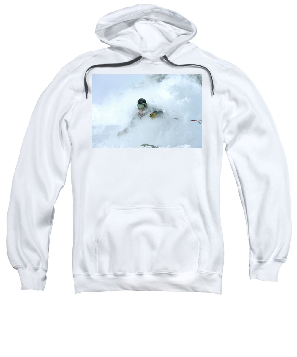 Action Sweatshirt featuring the photograph A Man Skiing In Powder Near South Lake by Corey Rich
