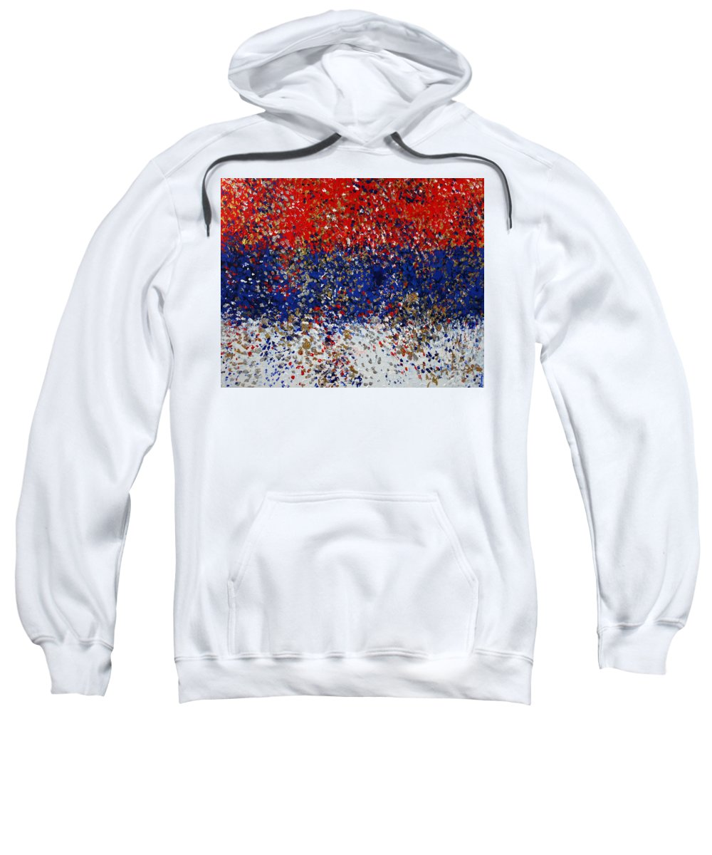 Serbian Flag Sweatshirt featuring the painting 2011 175 Serbian Flag by Alyse Radenovic