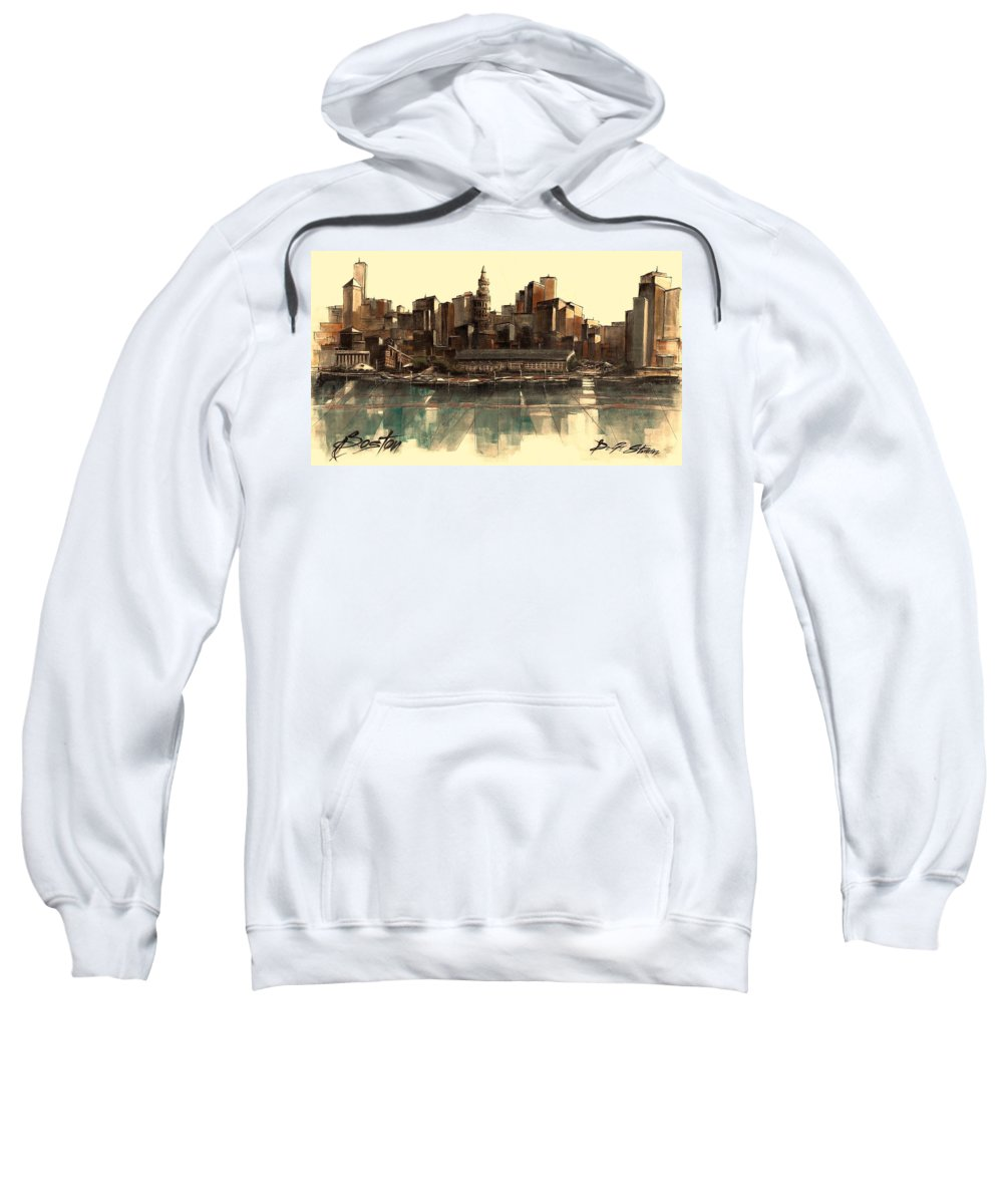 Fineartamerica.com Sweatshirt featuring the painting Boston Skyline by Diane Strain