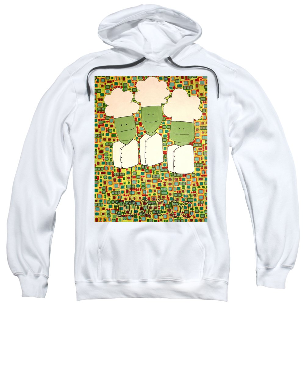 Whisks Sweatshirt featuring the painting 3 Bakers by Donna Howard