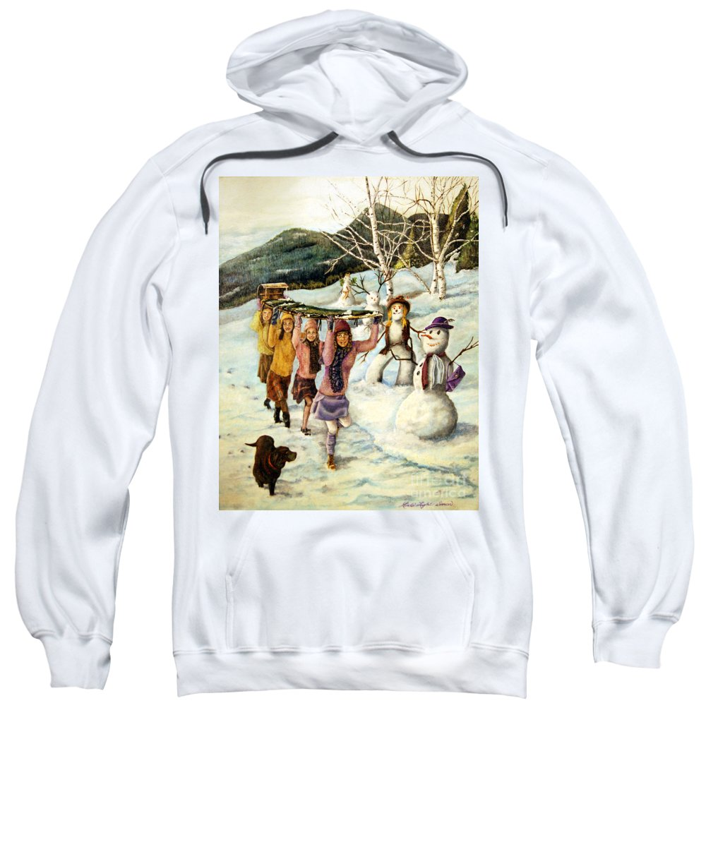 Dog Sweatshirt featuring the painting Frosty Frolic by Linda Simon