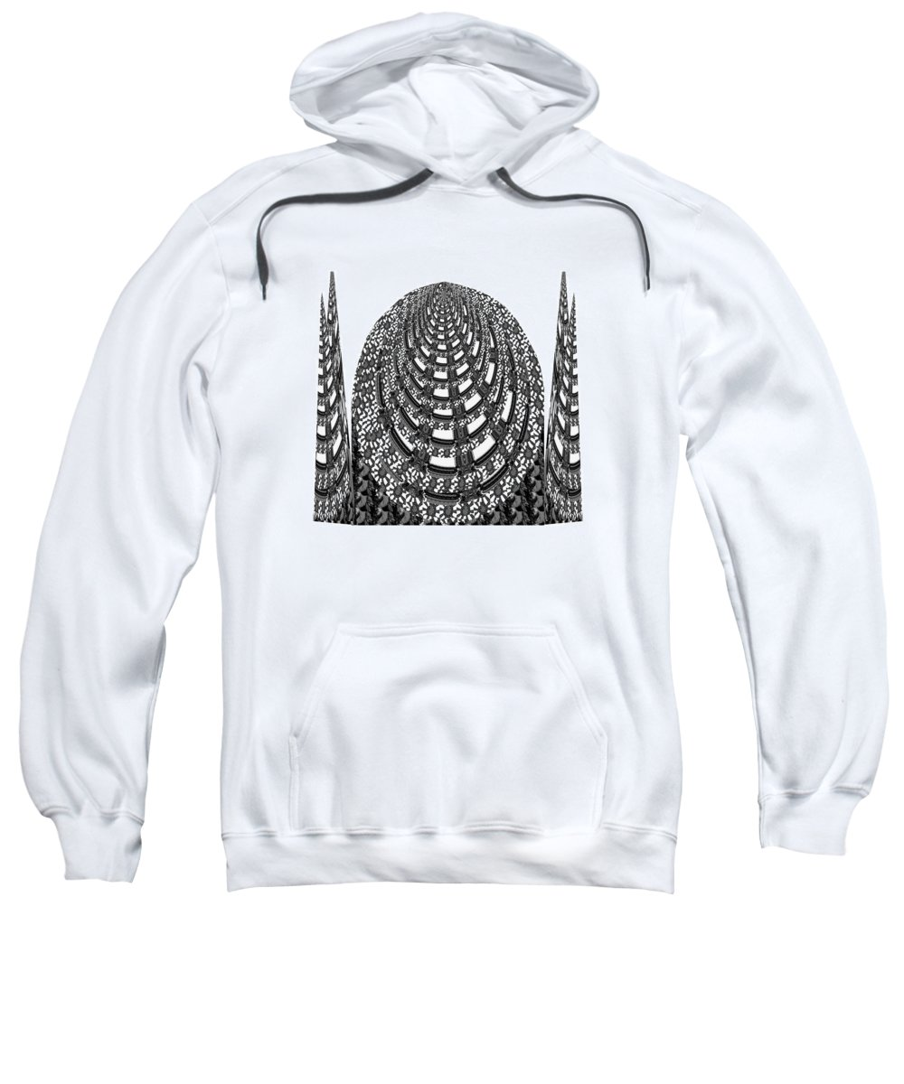 Manument Sweatshirt featuring the mixed media Sparkle Bnw White Pyramid Dome Ancient Arch Architecture Formation Obtained During Deep Meditation W by Navin Joshi