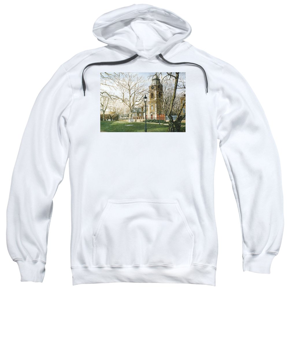 St Johns Sweatshirt featuring the painting St Johns Church Wapping London by Mackenzie Moulton