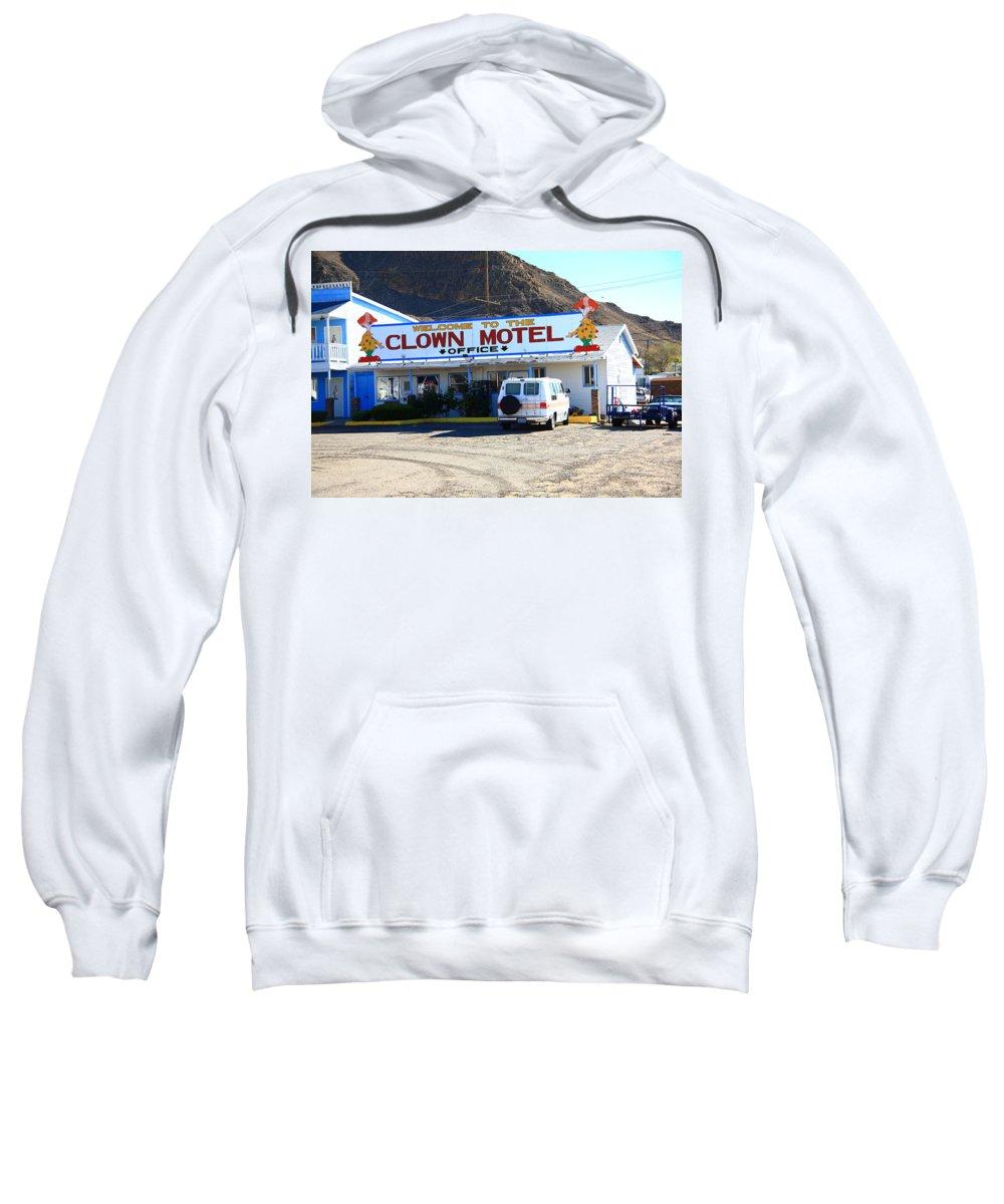 America Sweatshirt featuring the photograph Tonopah Nevada - Clown Motel by Frank Romeo