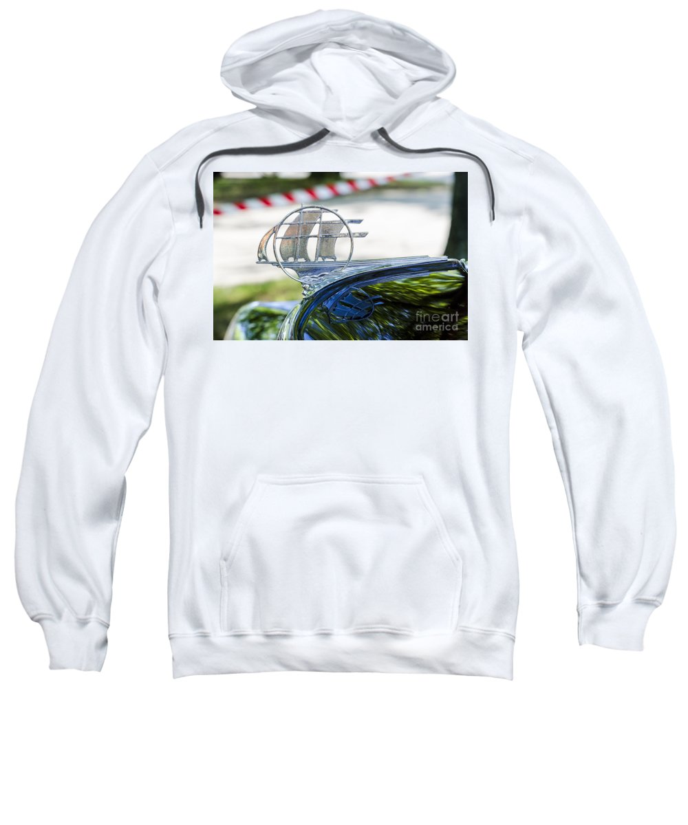 Hood Ornament Sweatshirt featuring the photograph '34 Plymouth Sedan Hood Ornament by Paul Mashburn