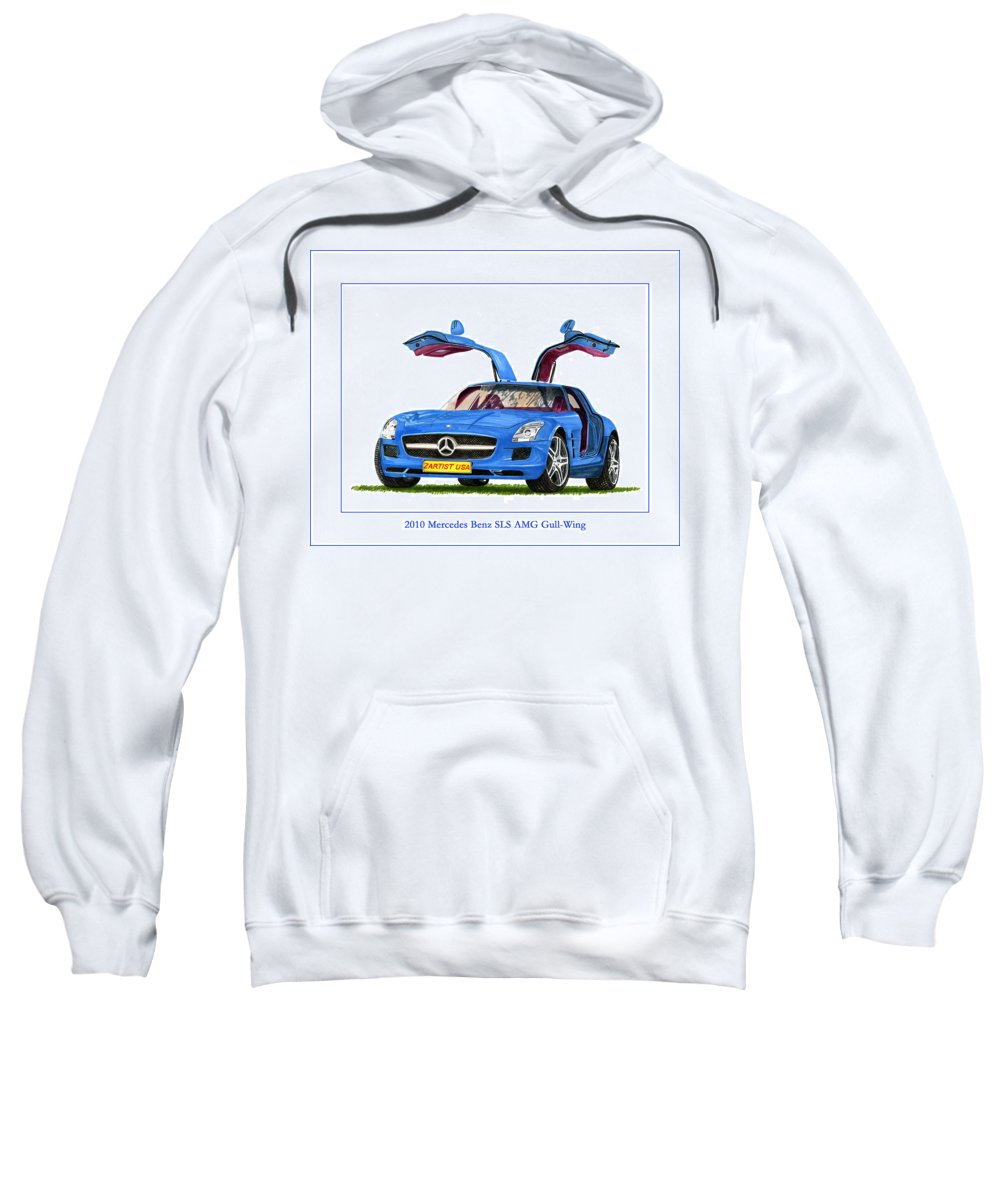 Classic Car Art Painting By Jack Pumphrey Sweatshirt featuring the painting 2010 Mercedes Benz S L S Gull-wing by Jack Pumphrey