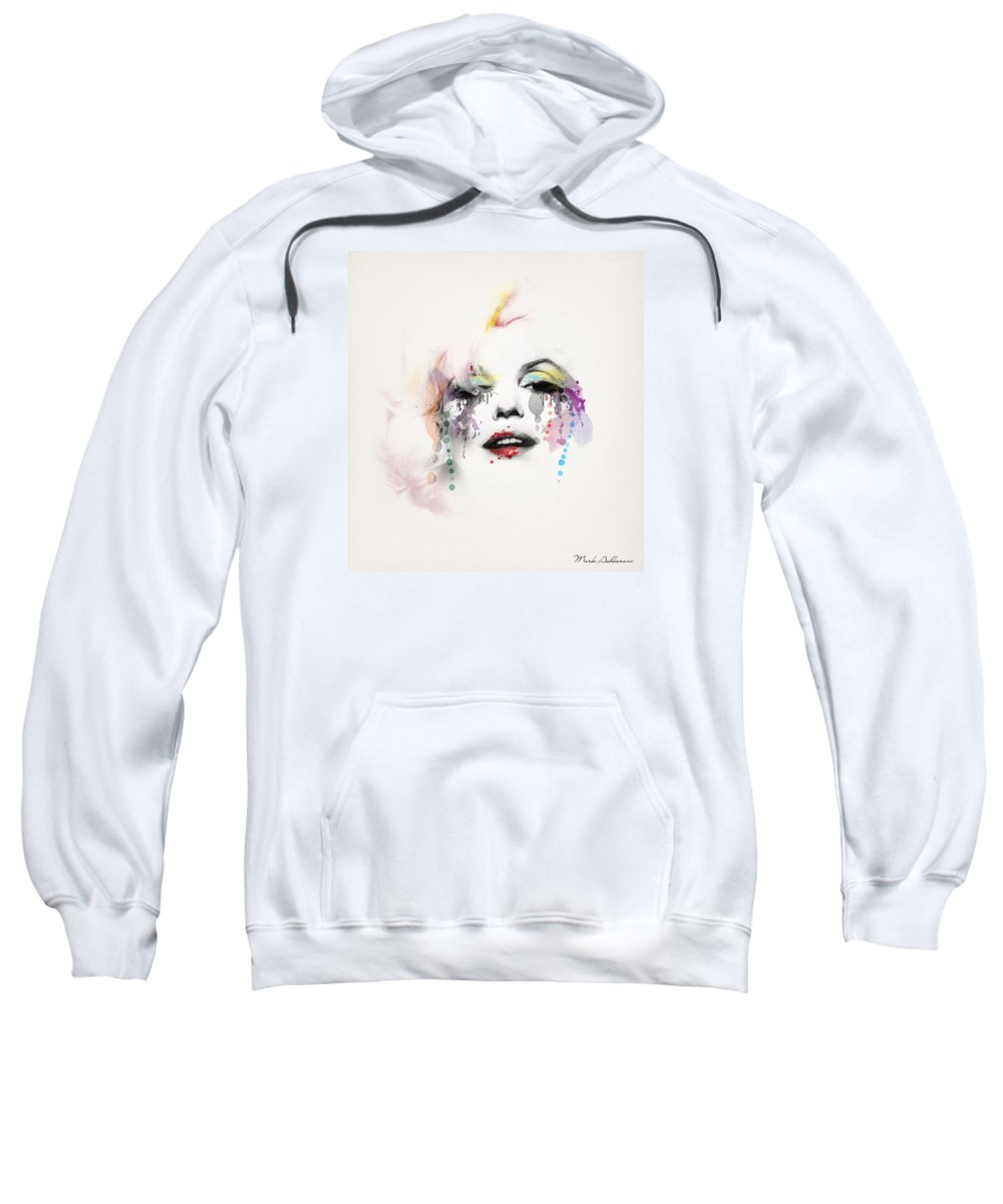 Pop Art Sweatshirt featuring the painting Marilyn Monroe by Mark Ashkenazi