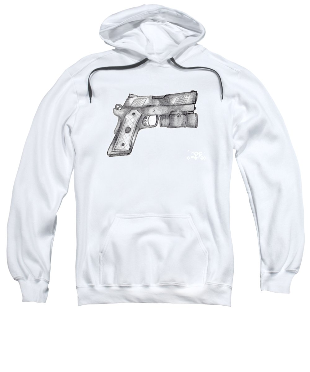 45 Caliber Sweatshirt featuring the drawing 45 Acp by Minding My Visions by Adri and Ray