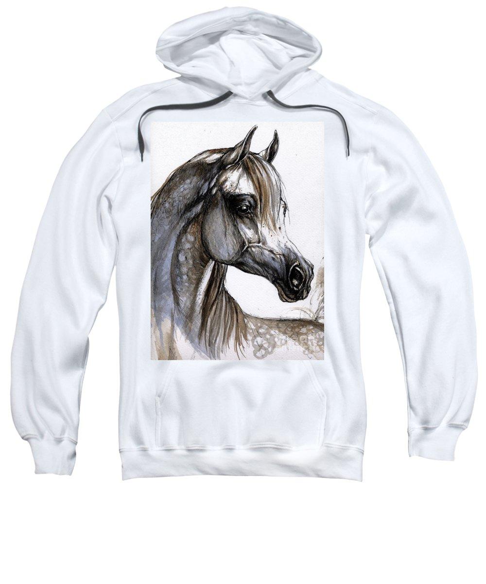 Horse Sweatshirt featuring the painting Arabian Horse by Angel Ciesniarska