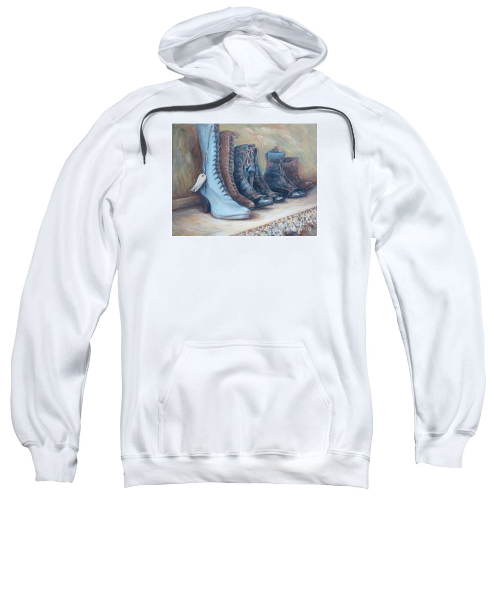 Boots Sweatshirt featuring the painting 6 Boots by Linda Hall
