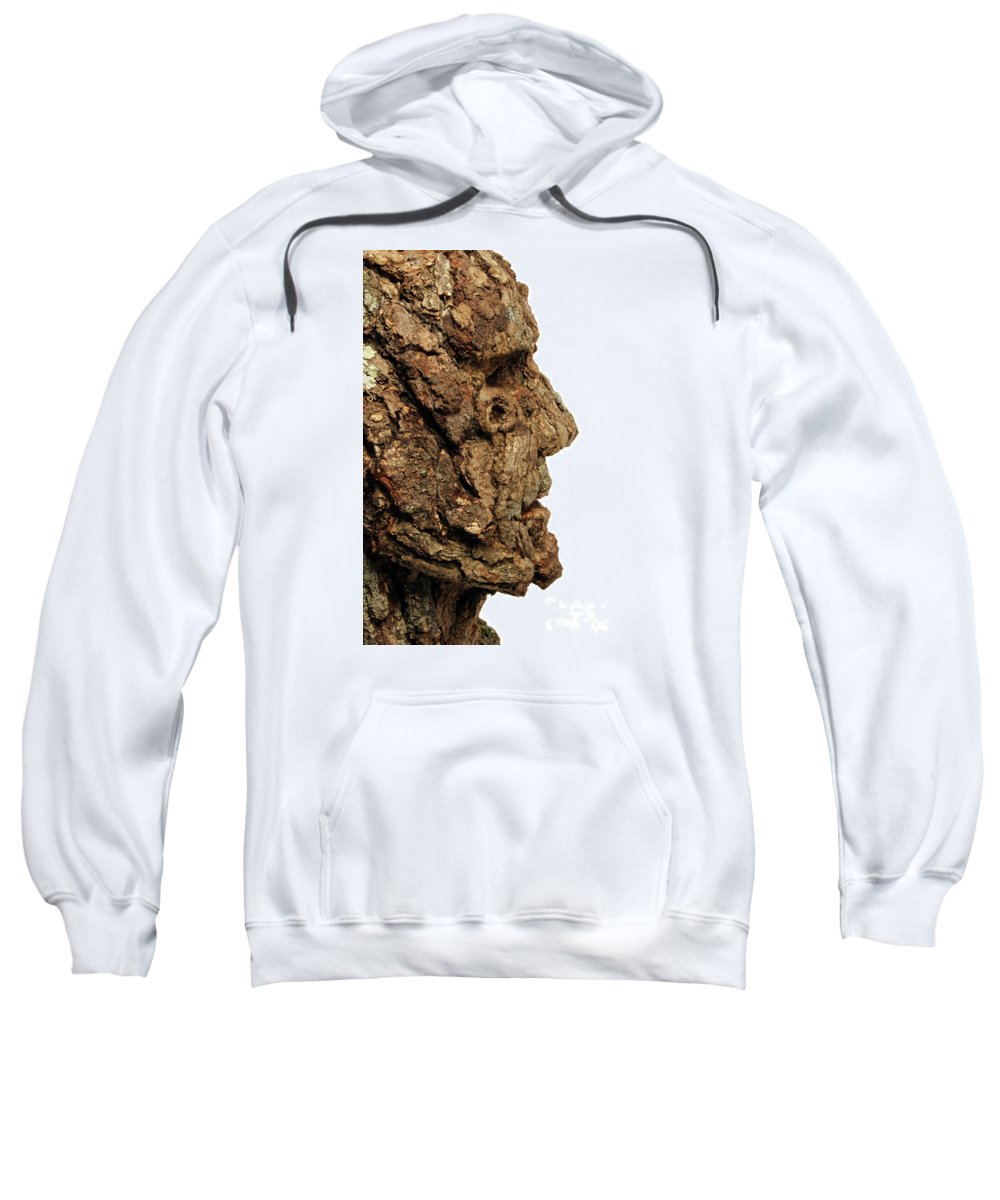 Art Sweatshirt featuring the mixed media Revered  A Natural Portrait Bust Sculpture By Adam Long by Adam Long