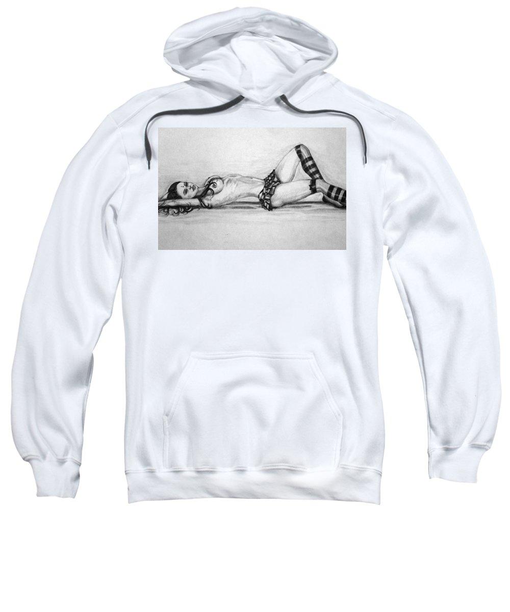 Model Sweatshirt featuring the drawing Model by Alban Dizdari