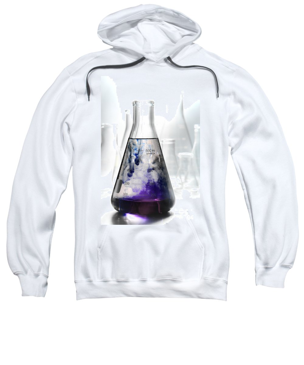 Erlenmeyer Sweatshirt featuring the photograph Scientific Experiment In Science Research Lab by Science Research Lab By Olivier Le Queinec