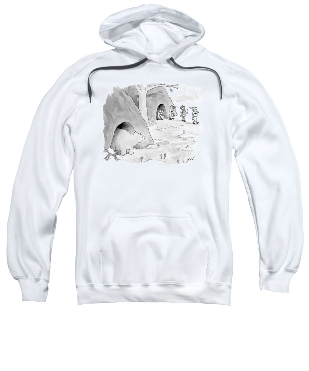 Baseball Sweatshirt featuring the drawing A Bear Emerges From A Cave by Tom Toro