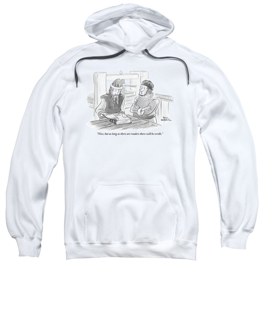 Books Sweatshirt featuring the drawing A Bearded Wise Man Looks Over A Book by Paul Karasik