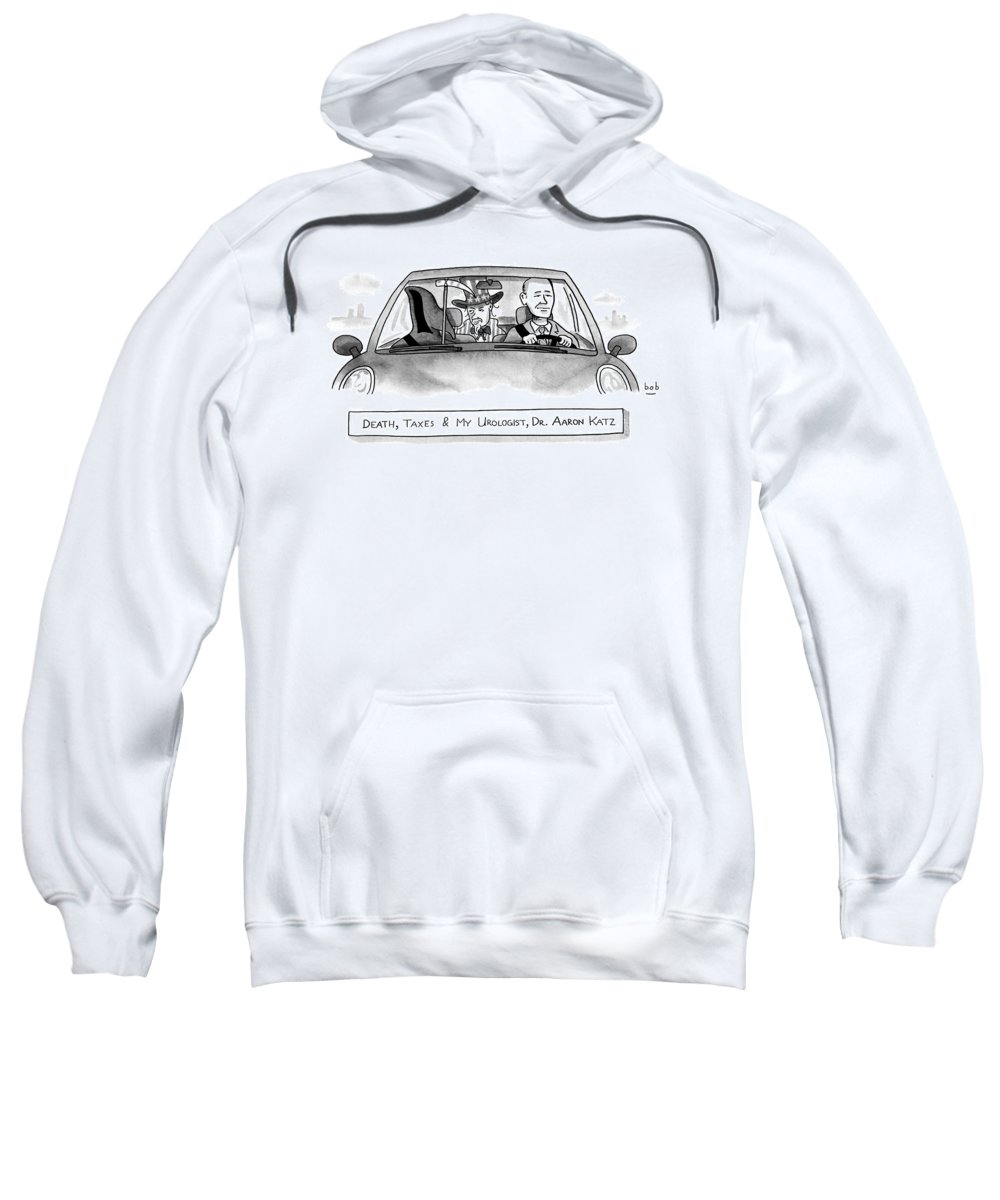 Captionless Grim Reaper Sweatshirt featuring the drawing A Car With The Grim Reaper by Bob Eckstein