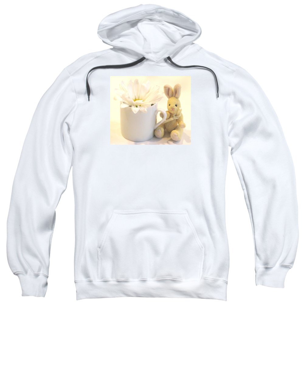 Daises Sweatshirt featuring the photograph A Cup Of Cheer by Angela Davies