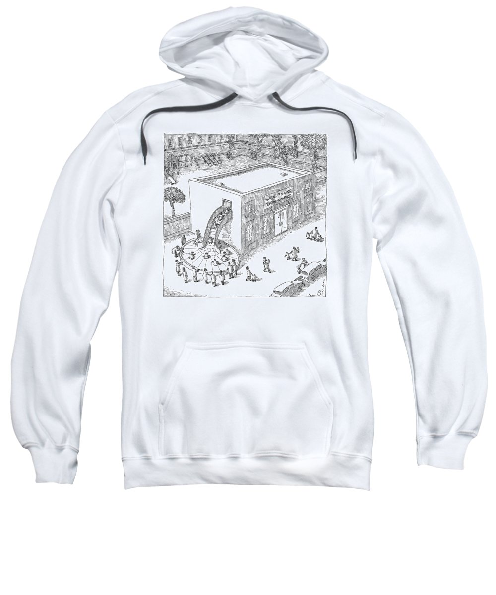 Wee Folks Daycare Sweatshirt featuring the drawing A Day Care Is Seen With Children Riding by John O'Brien