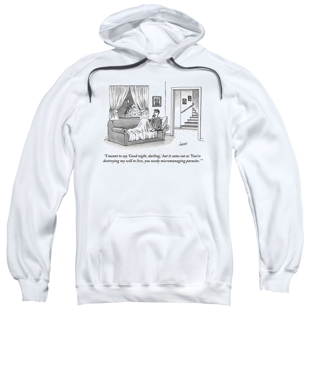 Telephones Sweatshirt featuring the drawing A Disgruntled Man Who Is Ready To Go To Sleep by Tom Cheney