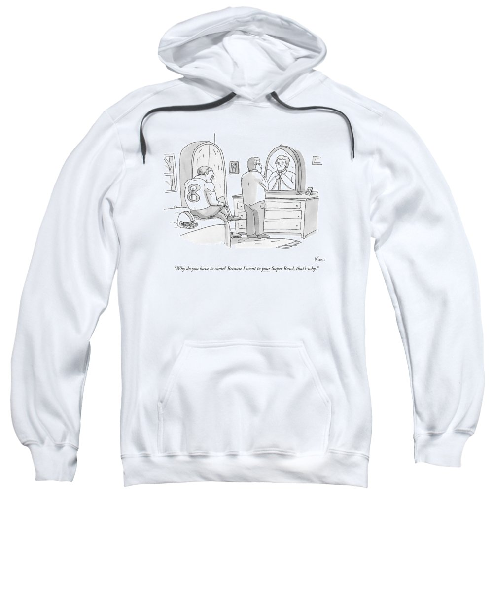 Gay Sweatshirt featuring the drawing A Football Player Gets Dressed On A Bed by Zachary Kanin