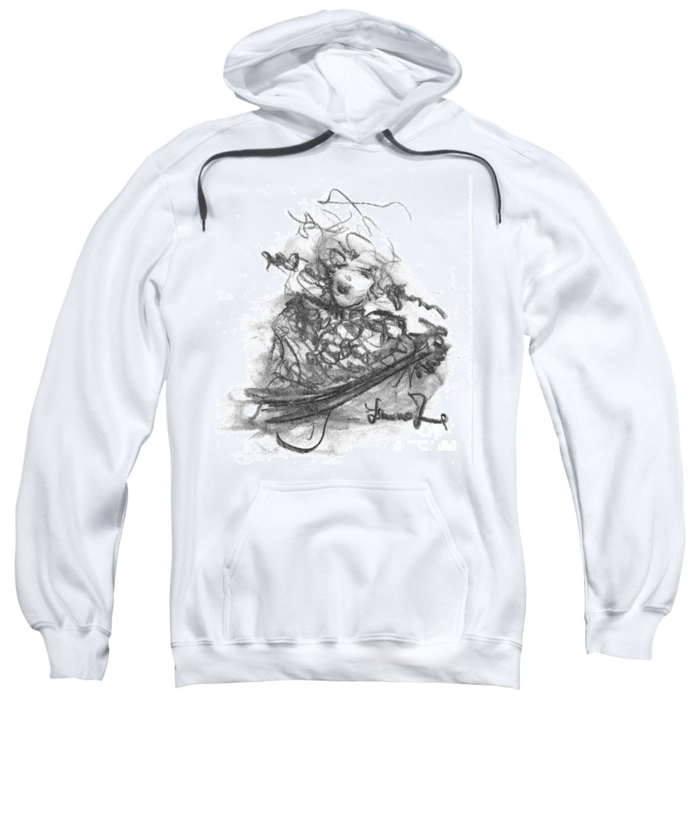Guitar Sweatshirt featuring the drawing A Great Musician by Laurie Lundquist