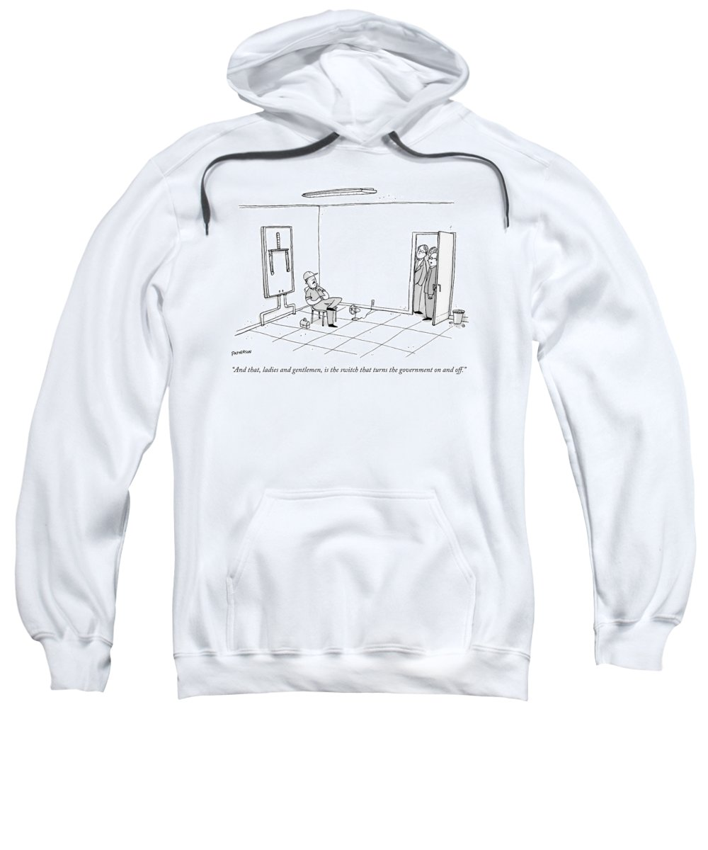 #condenastnewyorkercartoon Sweatshirt featuring the drawing A Group Peeks In At A Room Where A Worker Stands by Jason Patterson