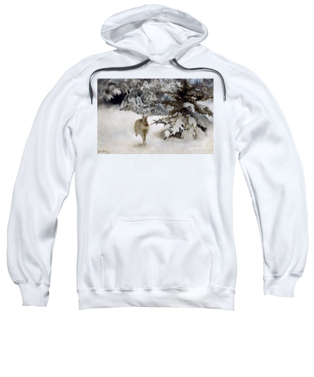 Hare Sweatshirt featuring the painting A Hare In The Snow by Bruno Andreas Liljefors