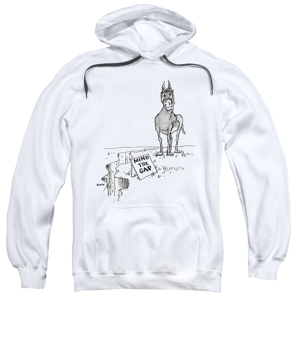 Gaps Sweatshirt featuring the drawing A Horse Approaches A Large Crack In The Ground by George Booth